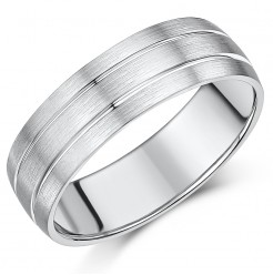 7mm Palladium Double Grooved Wedding Ring Band