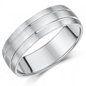7mm Sterling Silver Heavy Weight Double Grooved Wedding Ring Band