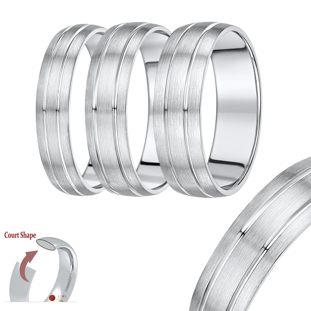 "Heavy Weight Palladim ""Court Shape"" Double Grooved Wedding Ring Band"
