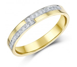 3mm 9 carat Yellow Gold Diamond Set 18pt Wedding Ring