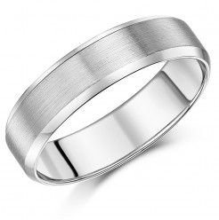 6mm Palladium Matt and Polished Flat Court Shaped Wedding Ring Band