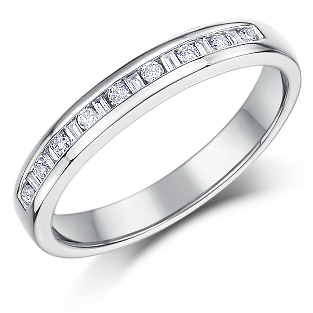 3mm 0.15ct White Gold 18ct Princess Cut Diamond Wedding Ring
