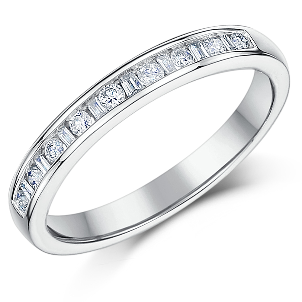 3mm 0.25ct White Gold 18ct Princess Cut Diamond Wedding Ring
