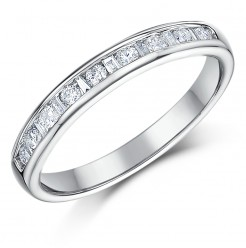 3mm 0.33ct White Gold 18ct Princess Cut Diamond Wedding Ring