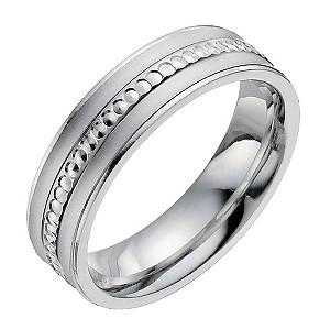 6mm Silver Patterned Milgrain Diamond Cut Wedding Ring Band