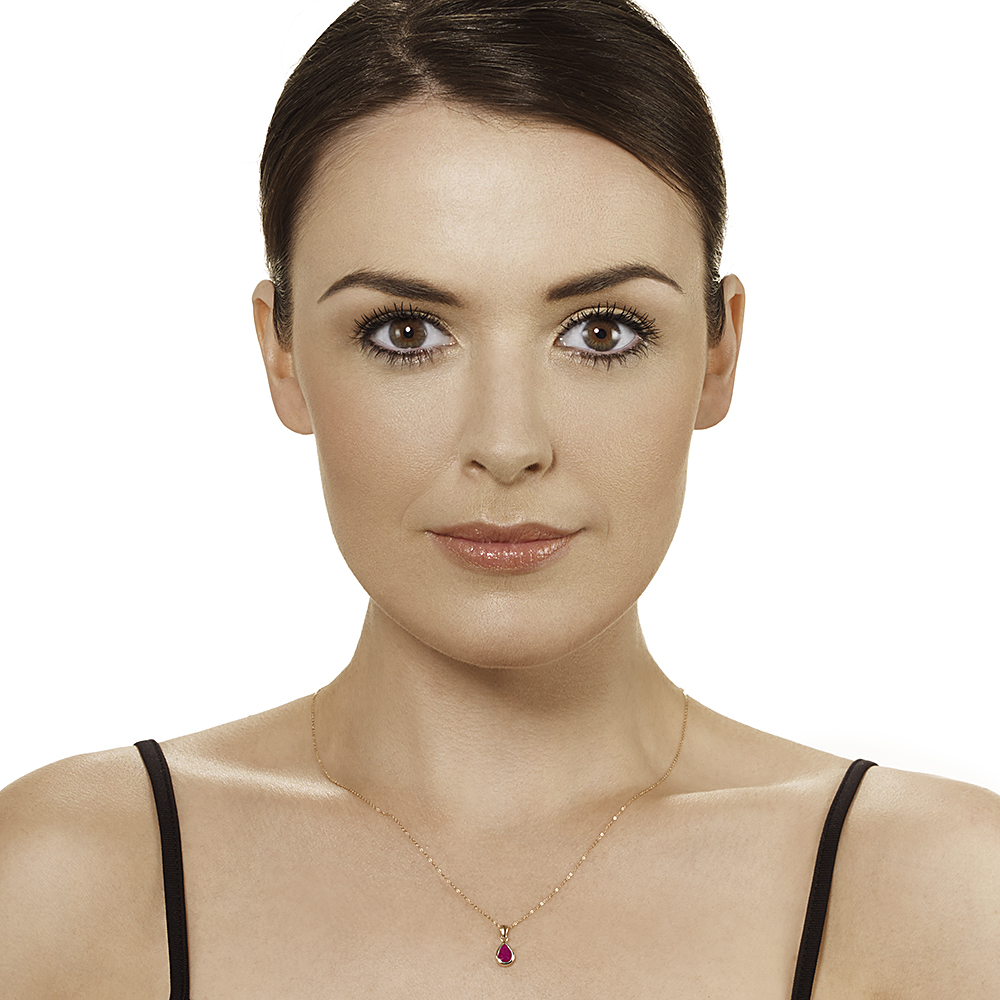 9ct Yellow Gold Ruby 18'' Chain & Pendant and Drop Earrings Set