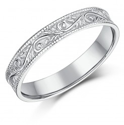 3.5mm 9ct White Gold Swirl Patterned Wedding Ring Band