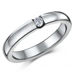 3.5mm Titanium CZ Stone Engagement/Wedding Ring Band