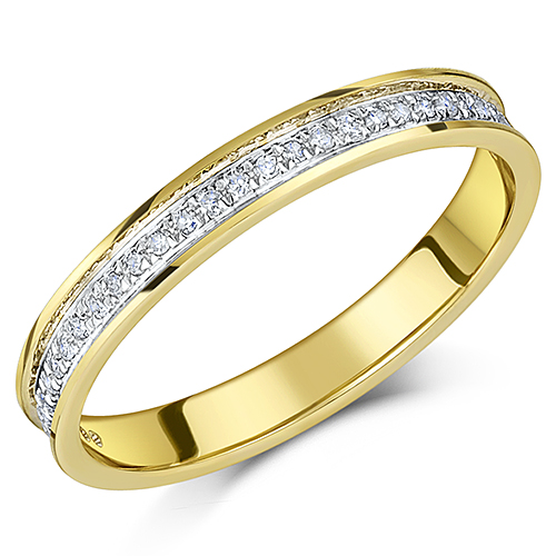 3mm 9ct Yellow Gold Diamond 0.15ct Half Eternity Ring