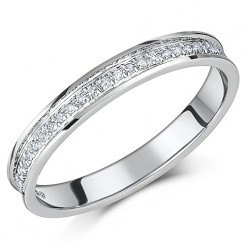 3mm 18ct White Gold Diamond Eternity Wedding Ring Band