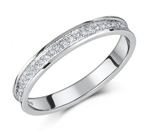 3mm 9ct White Gold Diamond Half Eternity Wedding Ring