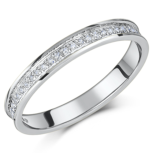 SALE 3mm Platinum Diamond Ring Half Eternity 015ct Flat Court
