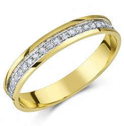 3.5mm 9ct Yellow Gold Diamond Half Eternity Quarter Carat Ring
