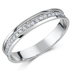 3.5mm 18ct White Gold Channel Set 1/4 Carat Diamond Wedding Ring