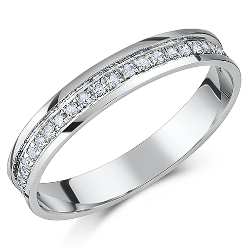 3.5mm 9ct White Gold Diamond Half Eternity Quarter Carat Ring