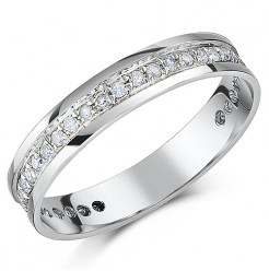 4mm 18ct White Gold Channel Set 1/3 Carat Diamond Wedding Ring