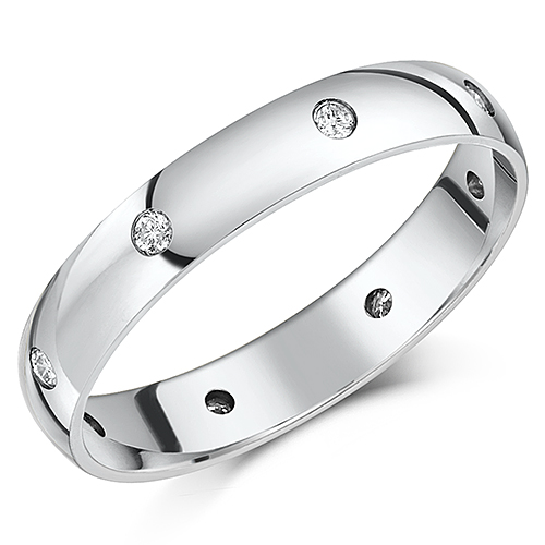 4mm Palladium Court Shaped Diamond Wedding Ring Band