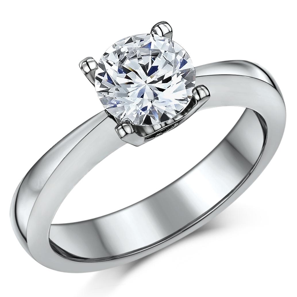 Titanium 4 Prong 2ct Solitaire Engagement Heart Detail Ring