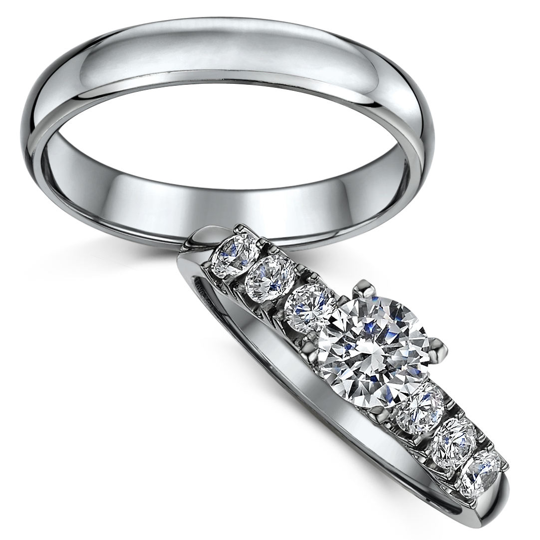 Titanium Solitaire Engagement & Wedding Ring Set