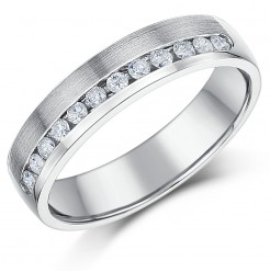 4.5mm Palladium Channel Set Diamond Wedding Ring