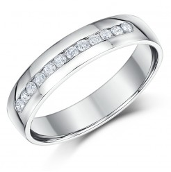4mm Palladium Slight Court Diamond  Wedding Ring Band