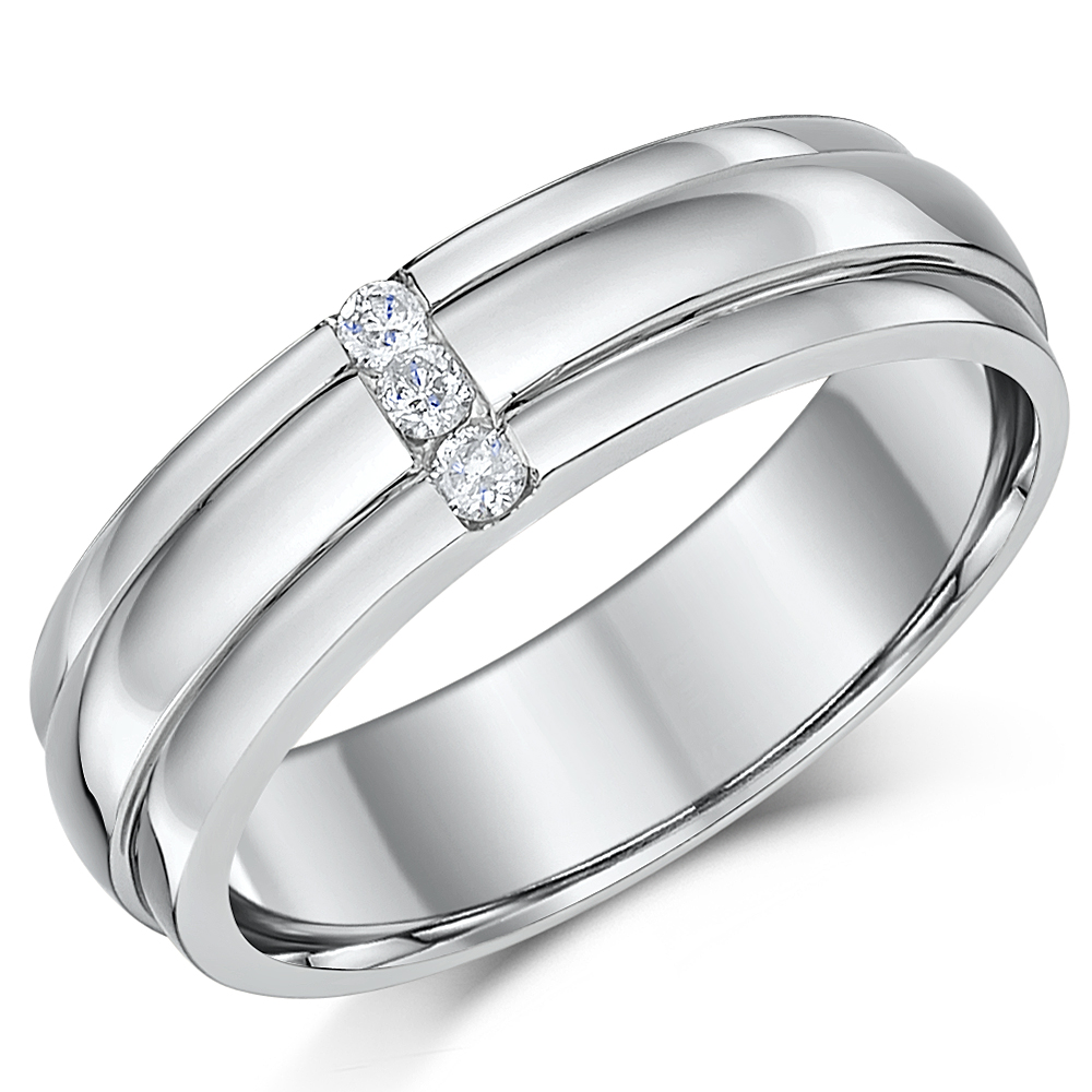 6mm Palladium Diamond Wedding Ring Band