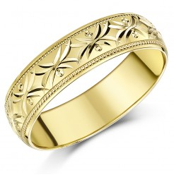 4mm-7mm Yellow Gold Diamond Cut Patterned Ring