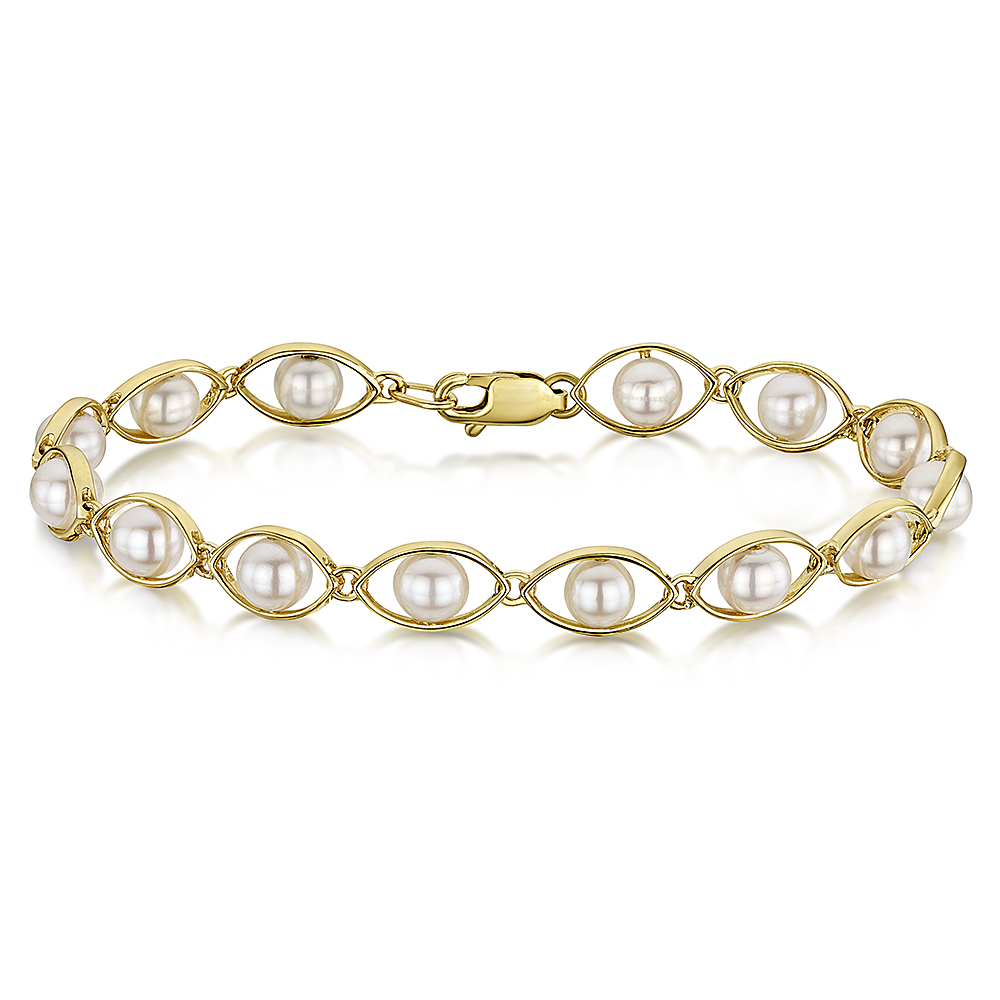 9ct Yellow Gold White Pearl Bracelet 7'' inch