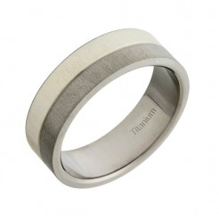 6mm Titanium & Silver Wedding Ring Band