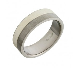 7mm Titanium & Silver Two Colour Wedding Ring