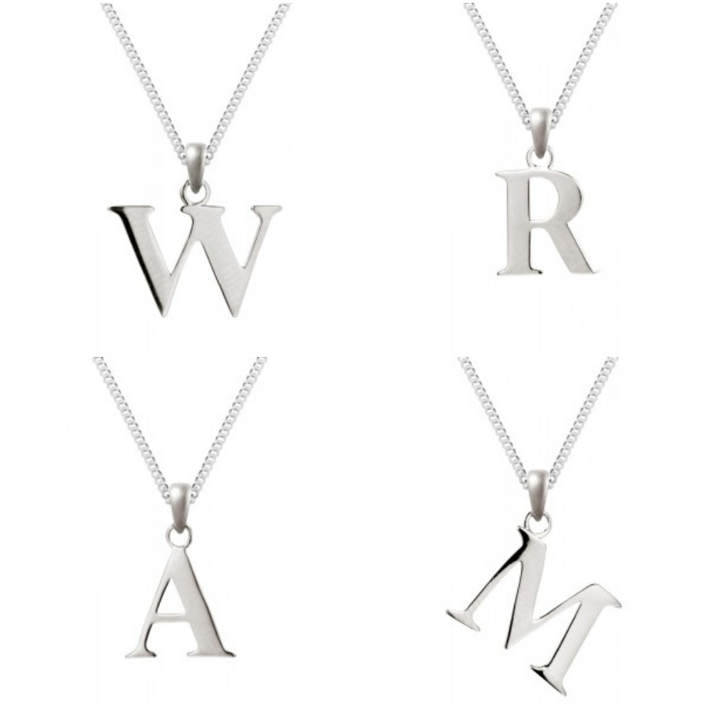 Silver initial pendant with 18 curb chain sterling silver 925 silver initial pendant with 18 curb chain sterling silver 925 hallmarked aloadofball Images
