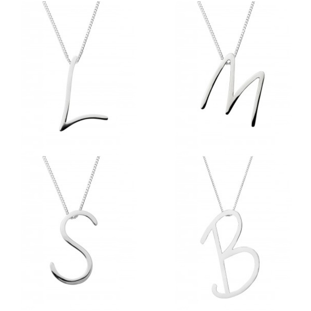 "Silver Large Script Initial Pendant with 18"" Curb Chain Sterling Silver 925"