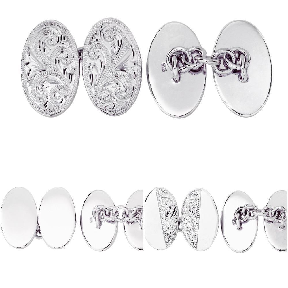 Sterling Silver Wedding Chain Cufflinks 925 Double Oval Chain Link Cufflink