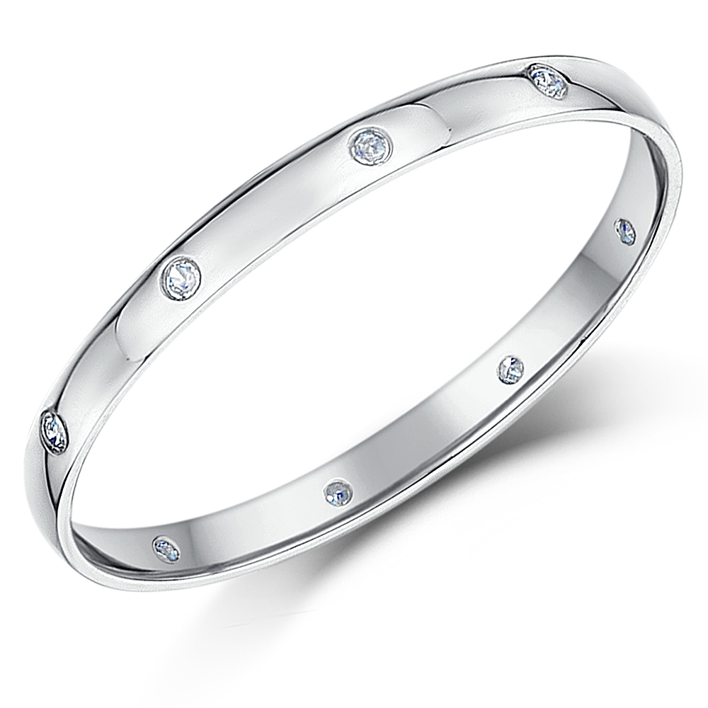2mm Palladium Court Shape Diamond Wedding Ring Band