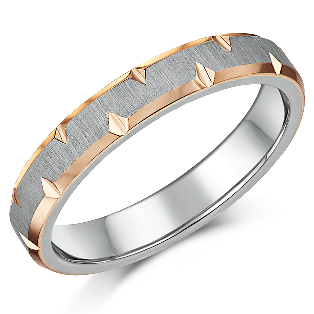 4mm IP Rose Gold Edged Titanium Wedding Ring