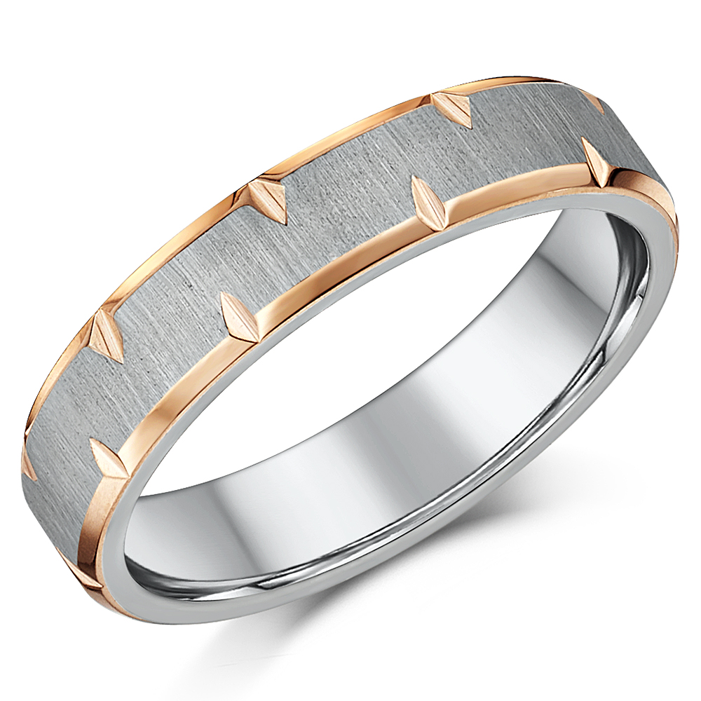 5mm IP Rose Gold Edged Titanium Wedding Ring