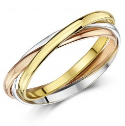 2mm 9ct Multi-Tone 3 Colour Gold Russian Wedding Ring