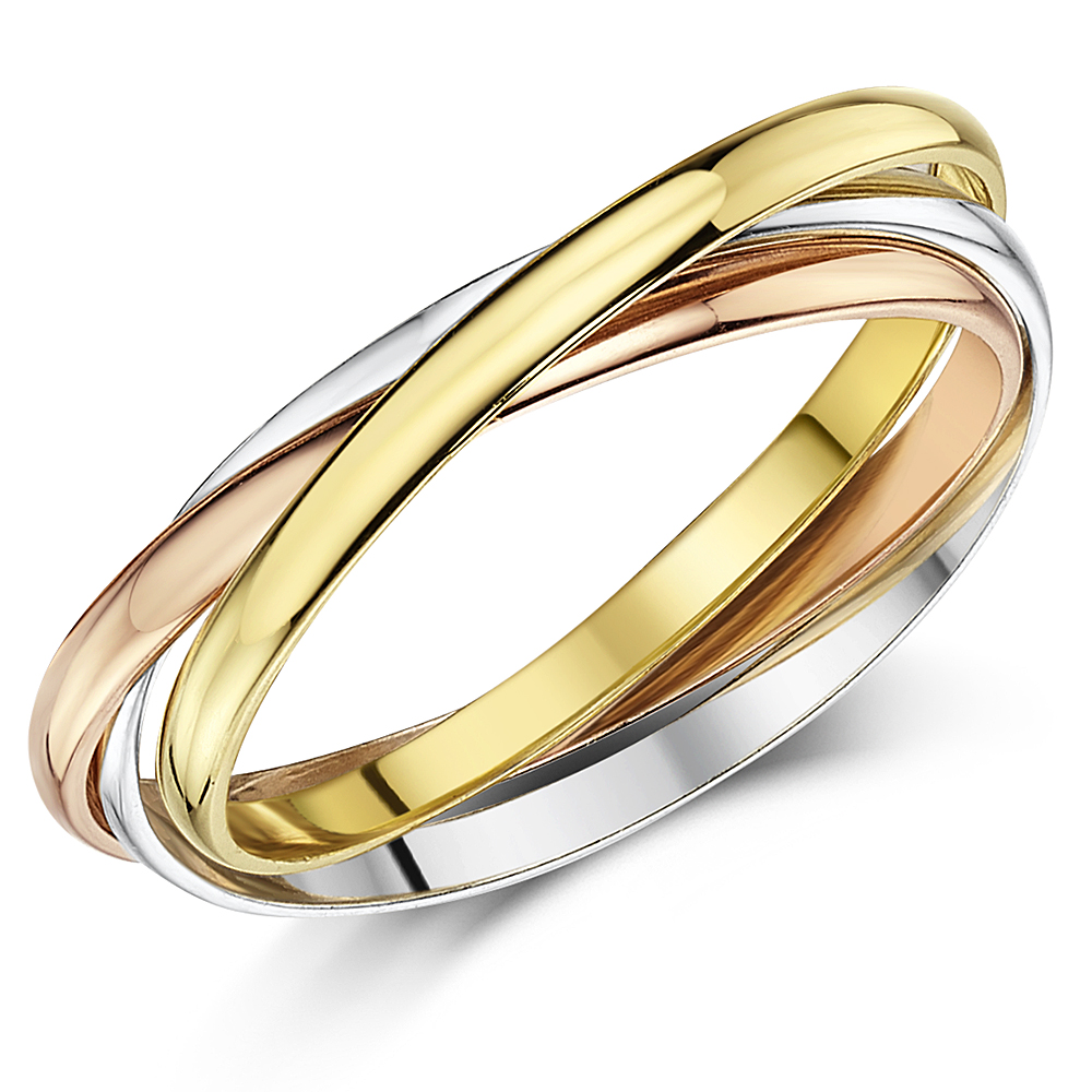 2mm 9ct Multitone 3 Colour Gold Russian Wedding Ring