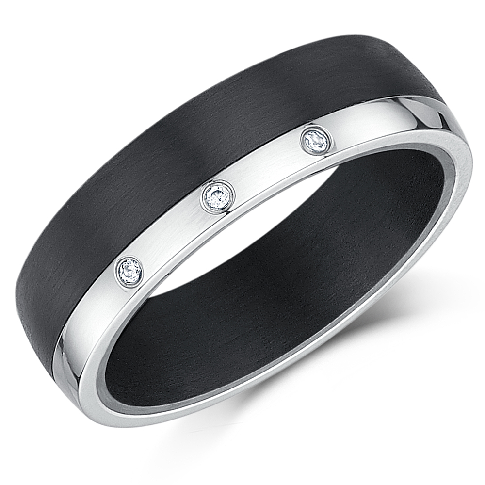 Black Carbon Fiber & Titanium Wedding Ring 6mm