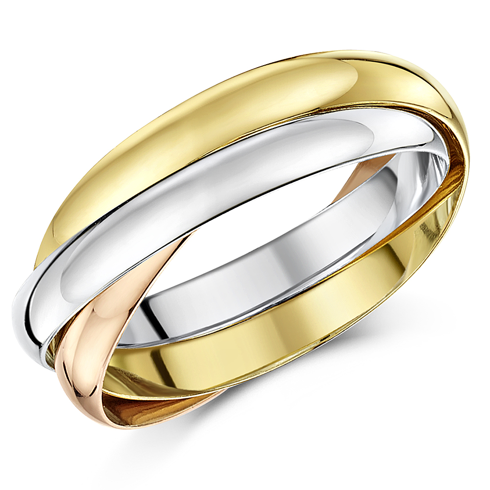 3mm 18ct Gold 3 Colour Russian Wedding Ring