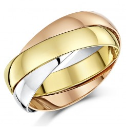 4mm 9ct Multi-Tone 3 Colour Gold Russian Wedding Ring
