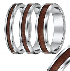 Titanium wedding ring Band,with wood grained inlay