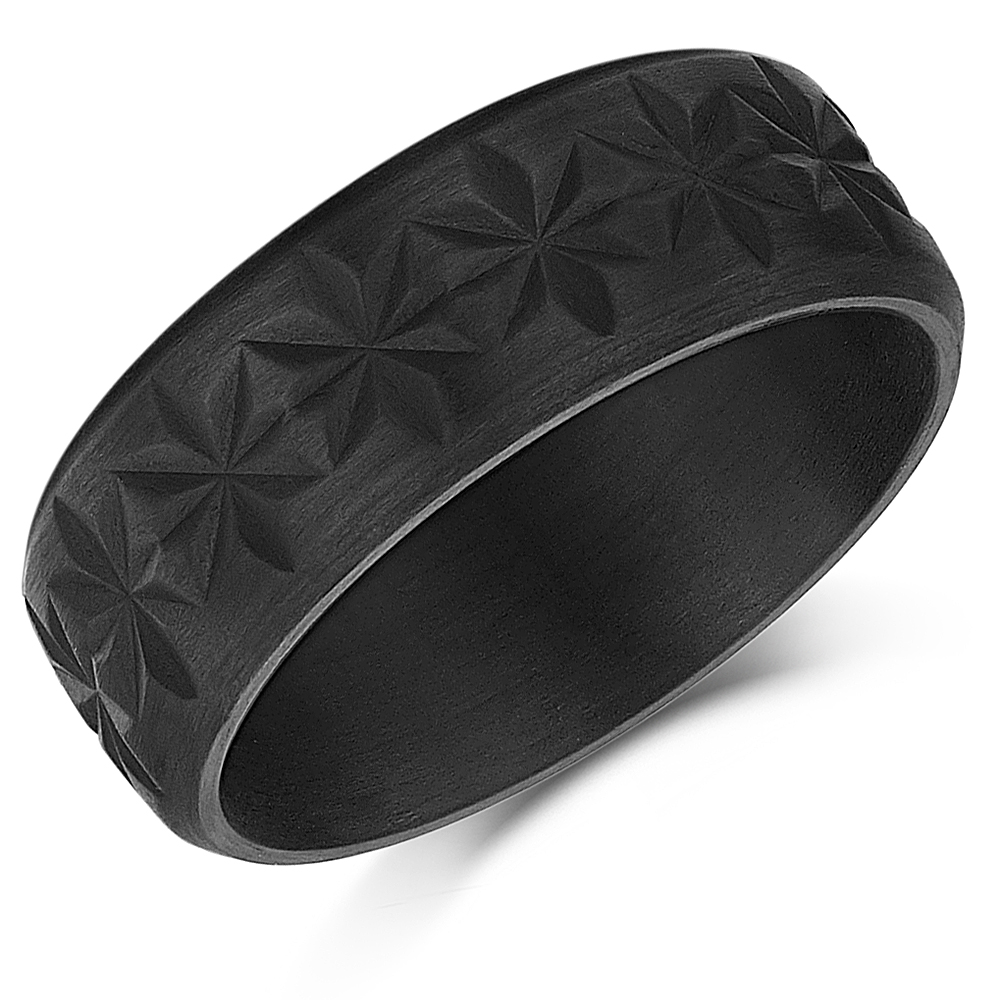 Carbon Fiber Wedding Ring With Intricate Detailing  8mm