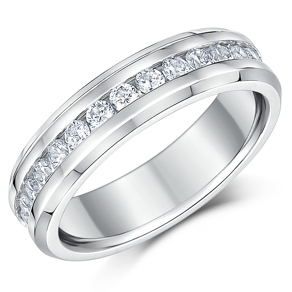 6mm Ladies Titanium Full Eternity Ring Wedding Band with CZ Stones