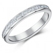 3mm Titanium Full Eternity Ring Princess Cut CZ Engagement Wedding Ring