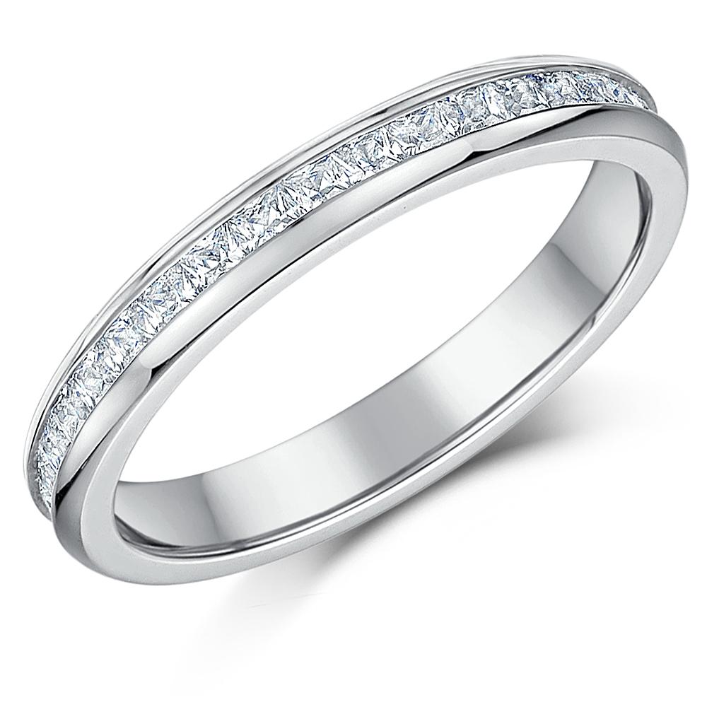 3mm Titanium Princess Cut C'Z Full Eternity Ring