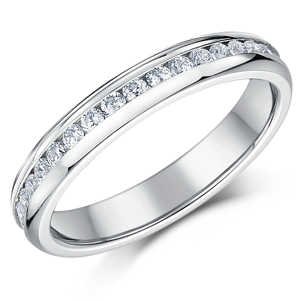 4mm Ladies Titanium Eternity Ring Round CZ Stone Engagement Wedding Ring