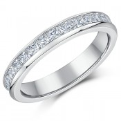 4mm Titanium Eternity Ring Princess Cut CZ Full Eternity Engagement Ring