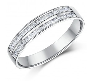 4.5mm 9ct White Gold 1/4 Carat Channel Eternity Double Row Diamond Ring