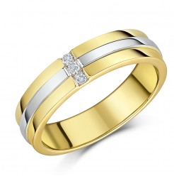 5mm 9ct Two Coloured Gold Diamond Wedding Ring Band